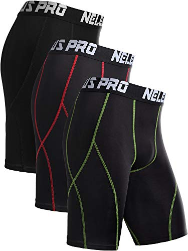 Neleus Men's 3 Pack Sport Running Compression Shorts,6012,Black,Red Stripe,Green Stripe,US M,EU L