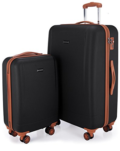 Hauptstadtkoffer - Wannsee - Set of 2 Hard-side Luggages Trolley Hardside Suitcase 4 Wheel Spinner, TSA Lock, (S/L), Black