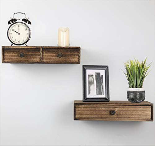 Abetree Wall Mounted Floating Shelves with Drawer Mini Rustic Wood Hanging Wall Storage Shelves for...
