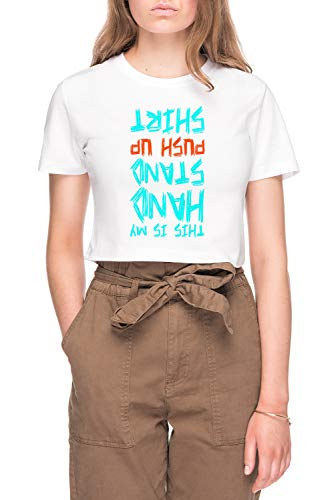 Hand Stand Push Up Shirt Dames Bijsnijden T-shirt Tee Wit Women's Crop T-shirt Tee White