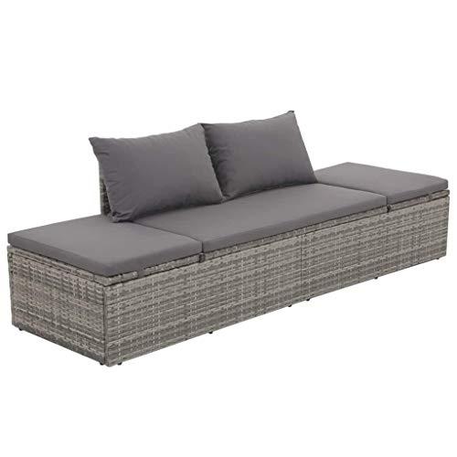 Gartenliege Sonnenliege Poly Rattan Lounge Liege | Verstellbar Gartenbank Lounge Sofa Liege mit Sitzpolster | Outdoor Freizeitliege Schlafliege | 195 x 60 x 60 cm Grau