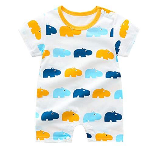 Treer Strampler Baby Mädchen und Jungs, Spielanzug 100% Baumwolle Sommer Babybody Baby Kurzarm-Body für Neugeborene Weich Short-Sleeve Bodysuits (80cm,Blaues Nilpferd)