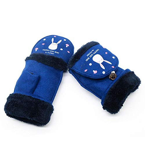 Small-shop Winter Gloves Gants d'hiver pour Femme Motif Lapin, Femme, Bleu Marine, Taille Unique