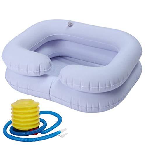 ATATMOUNT Aufblasbares Shampoo-Becken für behinderte ältere Menschen Tragbares Haarwaschbecken Abflussrohr Bettruhe Bettpflegespüle inklusive Luftpumpe