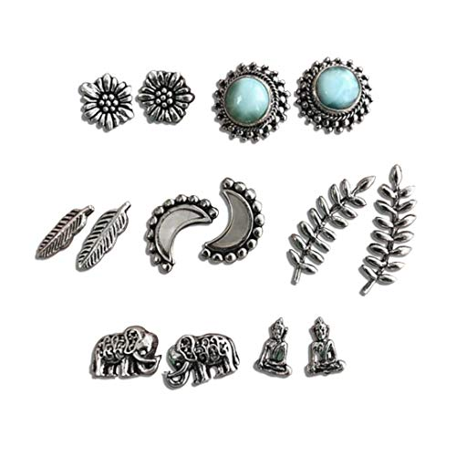 Zen Styles Vintage Small Stud Earrings Sets, Seven Pairs, Silver Tone, Buddha, Moons, Elephants, Leaves, Studs, Hypoallergenic (ZS-1126-NWA82)