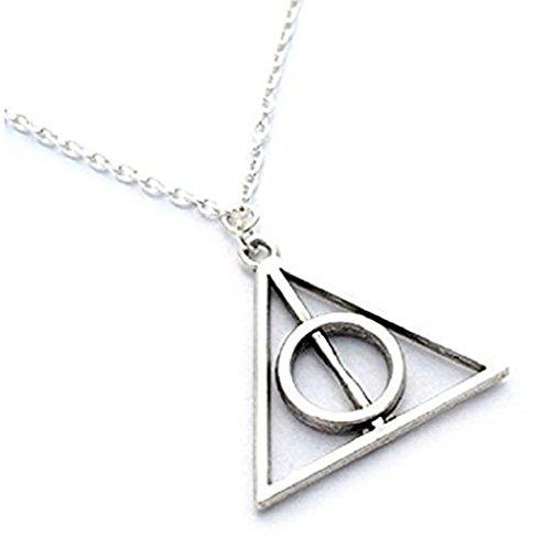 """Fashion Jewerly - Collana Harry Potter """"i doni della morte"""", ciondolo con cerchio e triangolo, unisex"""