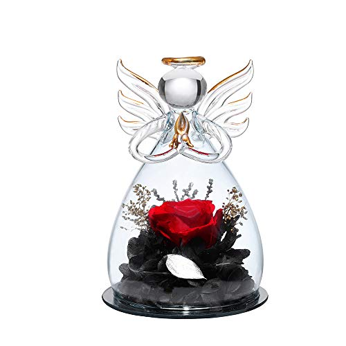 Forever Rose in Angel Glass Figurines Artificial Flower in A Glass Dome - Eternal Handmade Flowers Galaxy Red Rose Unique Gifts for Women Christmas Wedding Valentine