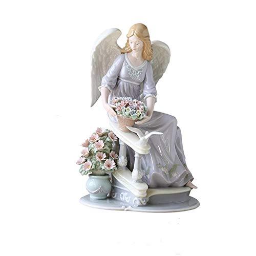 ZSQZJJ Home Figurine Statue Decor Ornament,Spain Ceramic Angels Flowers Sculpture Pigeon Girl Figurines Ceramics Crafts Home Decor