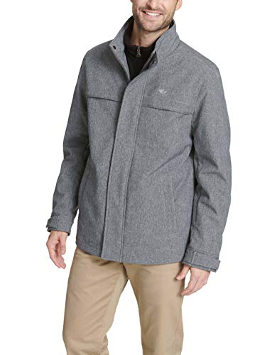 Dockers Men's Tall Filled Soft Shell Jacket with Bib (Regular and Big & Tall Sizes), Heather Grey, 3X Big