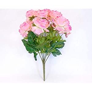 GF Artificial Silk Flowers Ranunculus Bush 12 Stems 18″ Bouquet Pink Color MG019