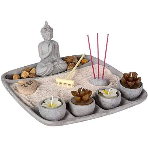 Hogar y Mas Jardín Zen con Buda de Cemento con 4 Velas, Decoración Zen, 23x23x12cm