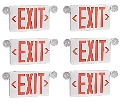 Ciata Ultra Bright LED Decorative Red Exit Sign & Emergency Light Combo with Battery Backup, 6-inch Red Letters (Pack of 6)