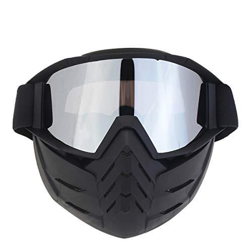 Vintage afneembaar masker, skibril, voor outdoor, fietsen, motocross, MTB, motoronderdelen transparant
