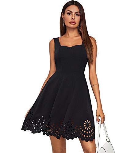 DIDK Damen Ärmellos Kleider T-Shirt Minikleider Einfarbig A Linie Sommerkleid Elegant Casual Freizeitkleid Strandkleid Ballonkleid Schwarz#4 XS
