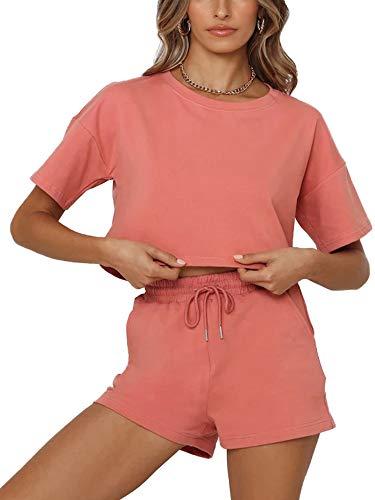 Conjunto de 2 piezas de entrenamiento deportivo para mujer, de color sólido, cuello redondo, con cordón, cintura alta con bolsillos
