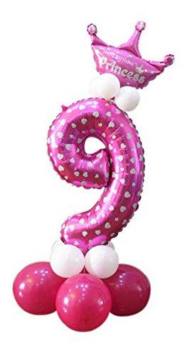 Koala Superstore Día de los niños de cumpleaños Decoración de la Fiesta Corona Lindo Columna Globo Número 9 Rosa