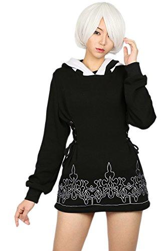 Xcoser 2B Kapuzen pullover Schwarz Baumwolle Hoodie Cosplay Kostüm Sweatshirt Zip Jacke Top Kleidung Merchandise für Damen