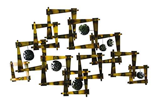 KunstLoft Extravagante Metall Wandskulptur 'Um die Ecke' 71x110x6cm | Design Wanddeko XXL handgefertigt Metallbild Wandrelief | Abstrakt Skulptur Quadrate Braun Schwarz | Wandbild modern