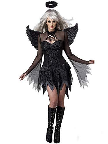 Lecoyeee Damen Horror Zombiebraut Kostüm Halloween Fasching Böse Engel Flügel Kostüm Gruselig Karneval Verkleidung Party Geist Braut Vampir Sexy Cosplay Kleid Set für Erwachsene Frauen Faschingskostüm