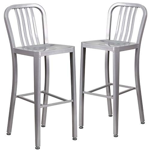 "Flash Furniture Commercial Grade 2 Pack 30"" High Silver Metal Indoor-Outdoor Barstool with Vertical Slat Back"