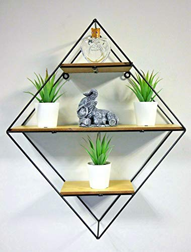 HomeZone Modern Diamond Shaped Industrial Floating Wall Shelves Shelving Unit Wood And Metal Display Stand Bedroom Bathroom Storage Unit Home Decor