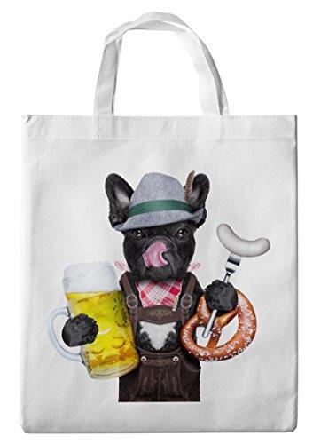 Einkaufstasche/Tragetasche/Shopper/mit Henkeln - 38x42cm - Motiv: Französische Bulldogge mit Bier, Tirolerhut und Weißwurst - 32