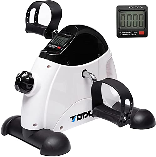 TODO Mini Exercise Bike Pedal Exerciser Foot Peddler Portable Therapy Bicycle with Digital Monitor (WHITE)
