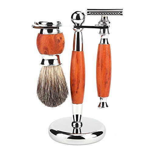 kits de rasage pour hommes, Kit de brosse à raser Support de brosse de rasage pour homme, rasoir de rasage, Brosse à cheveux doux Ensemble de rasoirs manuels Support de support Ensemble-cadeau