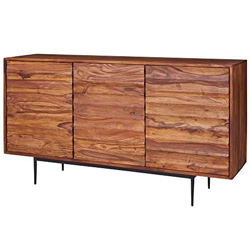 FineBuy Sideboard FB51424 Sheesham Massivholz 150x81x41 cm Landhaus Kommode | Design Anrichte Groß | Hoher Kommodenschrank mit 3 Türen Holz Massiv | Standschrank Wohnzimmer Modern