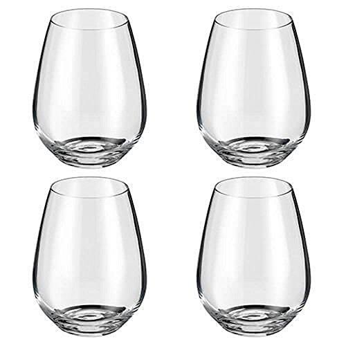 Judge Crystalline - Juego de 4 copas de vino sin tallo, 400 ml