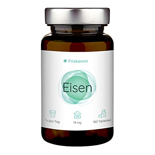 Eisen   14 mg   180 Tabletten für 6 Monate   Eisen bisglycinat   in Deutschland hergestellt   Eisen Tabletten   Nahrungsergänzungsmittel   Eisen hochdosiert   Iron Supplement   100% NRV