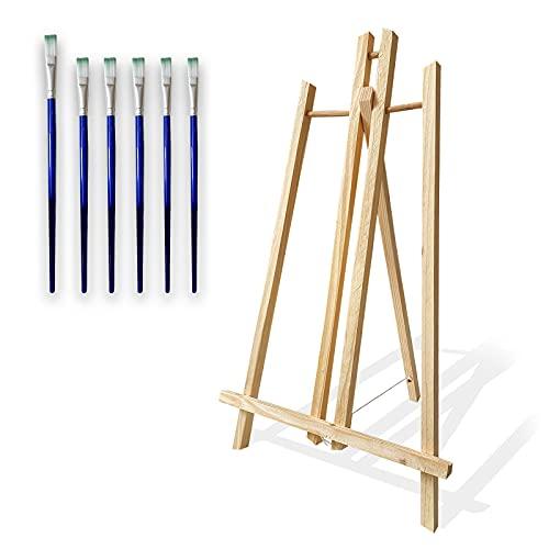 Caballete mesa de madera para pintar ideal para lienzos de hasta 50cm que incluye pack de 6 pinceles para pintura acrilica. Caballete pintura ajustable y portable ideal para exposicion de cuadros.