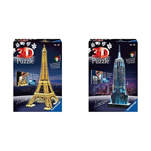 Ravensburger 125791 Eiffelturm bei Nacht Puzzle 3D-Puzzle Bauwerk Night Edition, 216 Teile & 12566 1 Empire State Building bei Nacht Night Edition 3D-Puzzle Bauwerke, 216 Teile