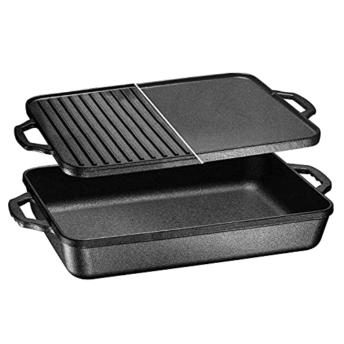 3-In-1 Pre-Seasoned Cast Iron Rectangle Pan With With Reversible Grill Griddle Lid Multi Cooker Deep...