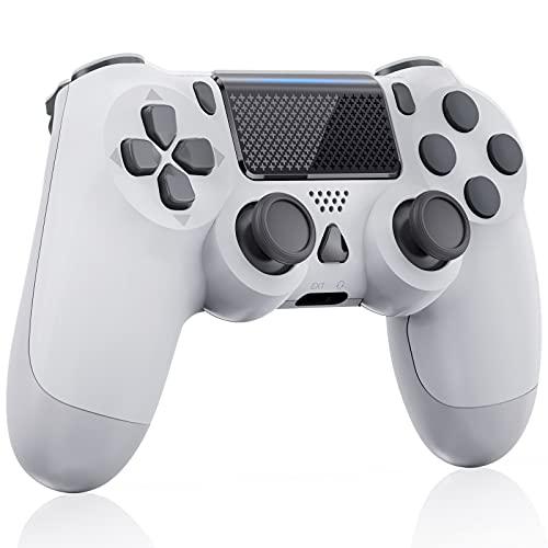 Manette sans Fil pour PS4 Gamepad avec double vibration, Contrôleur de Jeu à Écran Tactile , Compatible avec PS 4/Pro/Slim/PC, Batterie Rechargeable, Blanche