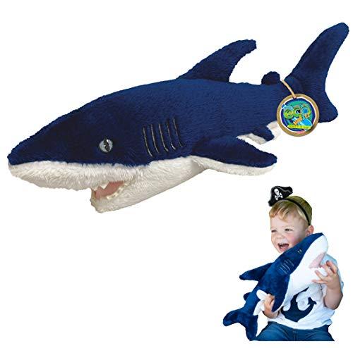 EcoBuddiez - Tiburón Mako de Deluxebase. Peluche Grande de 51 cm elaborado con Botellas de plástico recicladas. Lindo Peluche ecológico con Forma de animalito para niños pequeños