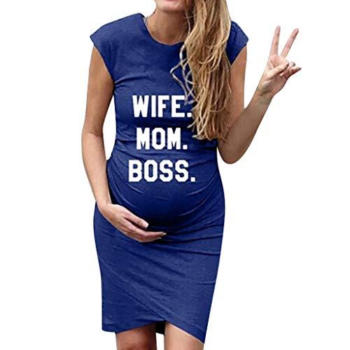 孕妇时尚可爱的宝宝印花无袖滑稽孕妇礼服卡通夏装的准妈妈(XXL,蓝 - 妻子MOM BOSS)