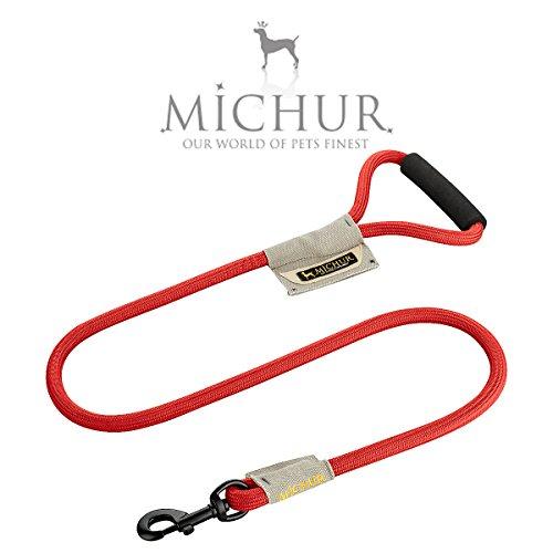 Michur Carola Vintage Style Line, hondenriem gemaakt van nylon, hondenriem gemaakt van nylon, aansluiting op de halsband en platte Wendy, verkrijgbaar in verschillende maten en kleuren, 120 x 0,9 cm, Rood