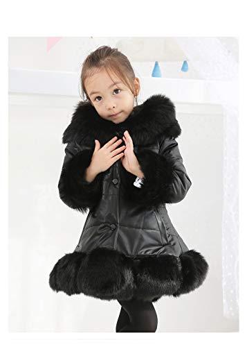 aiyu Chaqueta de piel sintética para niña, piel sintética, patchwork, zorro, cuello de piel sintética, abrigo de princesa, invierno, gruesa, para niños de 3 a 12 años (color: negro, talla infantil: 7)