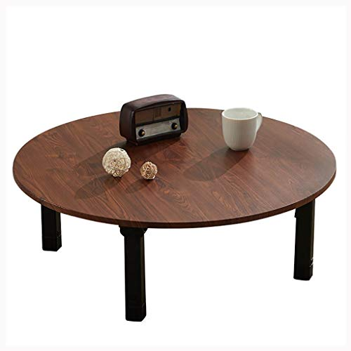 SH-tables Mesa plegable japonesa baja redonda, mesa de comedor, escritorio pequeño, para dormitorio Tatami, sala de té, 60/70/80 cm (color: B, tamaño: 60 cm)