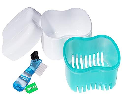 Denture Brush Retainer Case, Denture Case,Denture Cups Bath,Dentures Container with Basket Denture Holder for Travel,Mouth Guard Night Gum Retainer Container (Green)