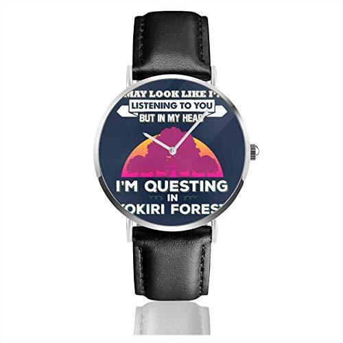 Unisex Business Casual Legend of Zelda Puede parecer Que Estoy Escuchando Pero Estoy Buscando Relojes Reloj de Cuero de Cuarzo