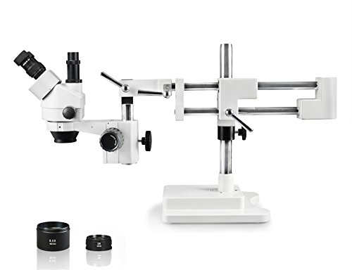 Parco Scientific PA-5FZ Simul-Focal Trinocular Zoom Stereo Microscope, 10x WF Eyepiece, 0.7X—4.5X Zoom, 3.5X—90x Magnification, 0.5X & 2X Auxiliary Lens, Double Arm Boom Stand