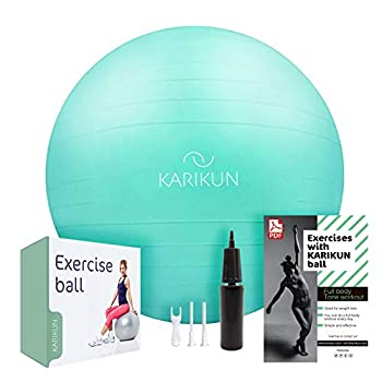 KARIKUN Exercise Ball 65cm Yoga Ball Medicine Ball Chair for Fitness - Stability Balance Pilates Core & Workout with Quick Pump - Upgraded Anti Burst Slip Resistance - Home Gym Office Chair