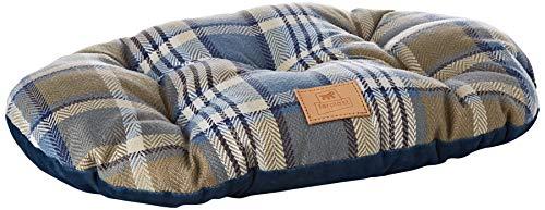 Gepolstertes Kissen für Hunde und Katzen SCOTT 45/2, doppelseitig, schottisches Muster, weicher Samt, waschbar, Blau