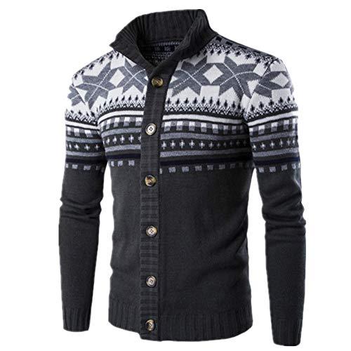 Suéter de los Hombres Cardigan Suéteres Otoño Invierno Cálido Solo Botonadura Chaqueta Abrigo Casual Stand Collar de Punto