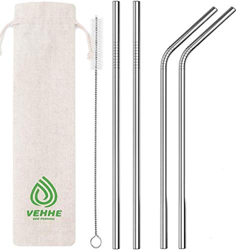 """VEHHE Metal Straws Stainless Steel Straws Drinking Straws Reusable - 10.5"""" Ultra Long 4 + 1 - W/Cleaning Brush for 20/30 Oz for Yeti RTIC SIC Ozark Trail Tumblers (2 Straight