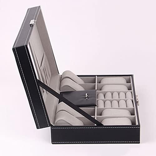 Nilkas 8 Slot Watch Box Caja de Cuero Collar de joyería Caja de Anillo Porta de Almacenamiento con Espejo