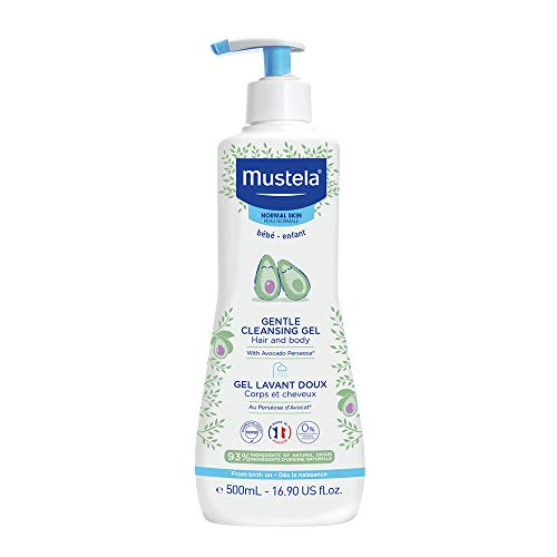 Mustela Baby Gentle Cleansing Gel - Baby Hair & Body Wash - with Natural Avocado fortified with Vitamin B5 - Biodegradable Formula & Tear-Free – 16.90 fl. oz.