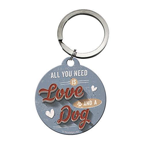 Nostalgic-Art 48028 - PfotenSchild - Love Dog , Schlüsselanhänger , Metall-Schlüsselanhänger , Rund , 4 cm